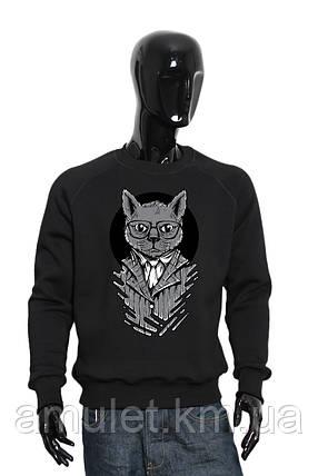 """Свитшот мужской красный черный  """"Business Cat"""", фото 2"""