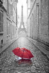 """3D фотообои """"Дождь в Париже"""""""