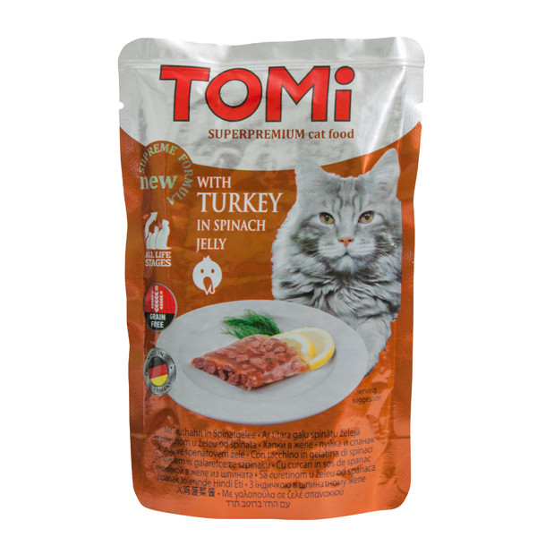 Влажный корм для кошек TOMi Turkey in spinach jelly с индейкой в шпинатном желе 100 г