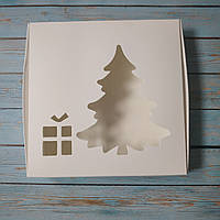 Коробка для пряников (150*150*30 мм.) с окном Ель и подарок
