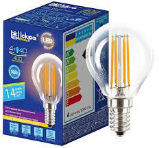 Лампа светодиодная декоративная филаментов ШАРИК LED Bulb P45, 4Вт, ТЕПЛО БЕЛАЯ, 220B, (E27)