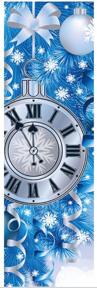 Новогодние бумажный пакет БУТЫЛКА Часы 12*9*36 см