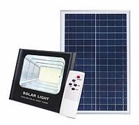 Светодиодный прожектор 100W на солнечной батарее с пультом. Фонарь солнечный 6500К
