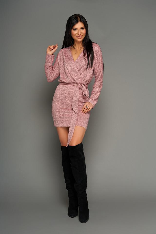 Короткий молодіжне плаття на запах, рожеве, трикотаж ангора меланж, р. від 42 до 50