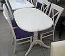 Стол Даниэль белый 120(+40)*80 обеденный раскладной деревянный овальный, фото 3