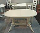 Стол Даниэль белый 120(+40)*80 обеденный раскладной деревянный овальный, фото 6