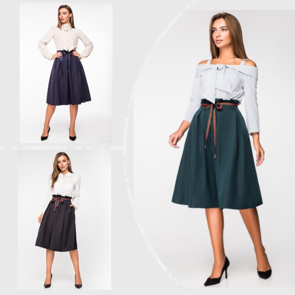 Стильная юбка с высокой посадкой и лентой по талии (разные цвета, 42-48, PF-8376)