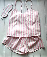 Женская пижама-комплект для дома и сна в розовую полоску с маской, фото 1