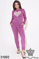 Женский спортивный костюм лиловый вязаный (размер 48-52)