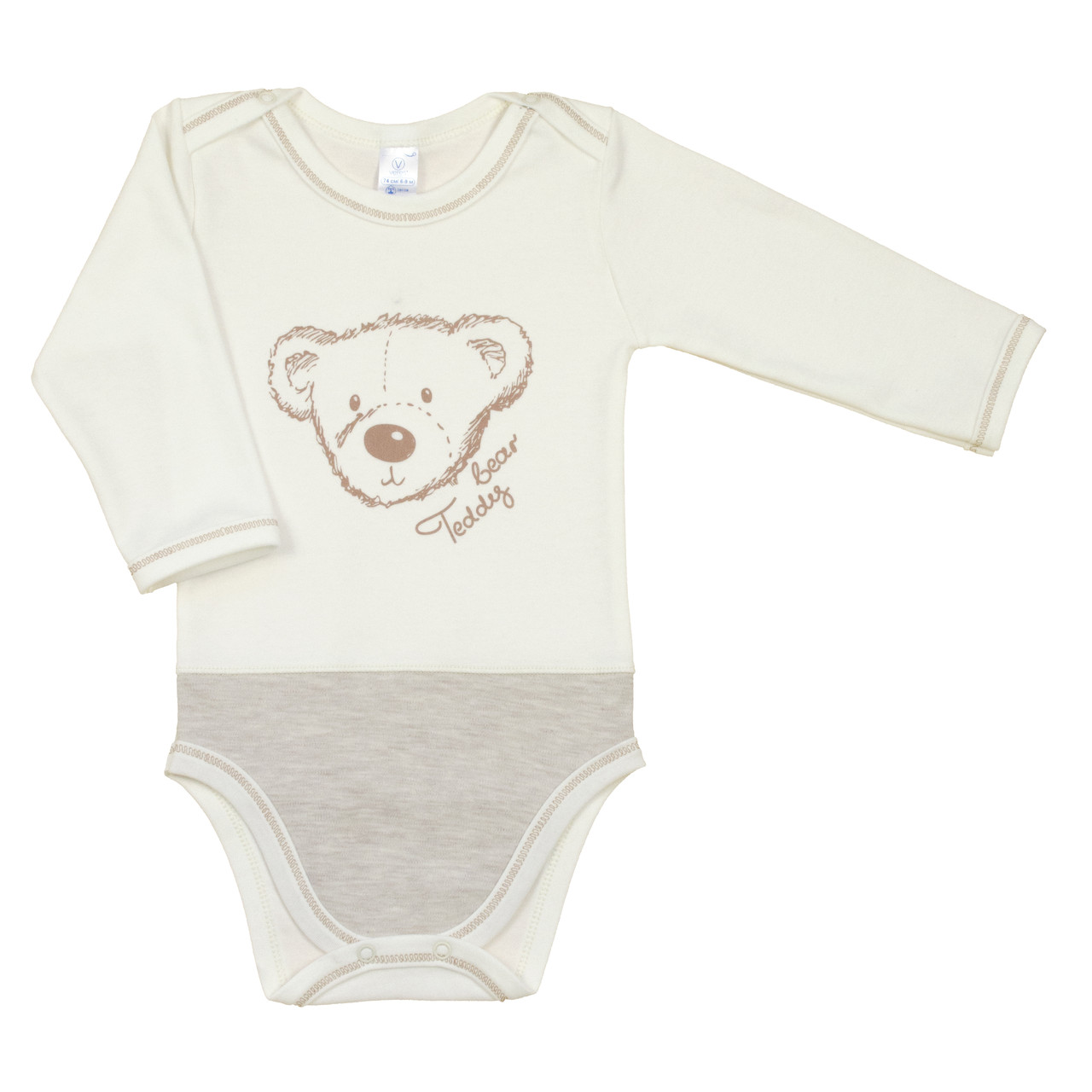 Боди сплошной Veres Teddy Bear milk интерлок молочный