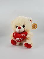 Музыкальный медведь игрушка плюшевая с сердцем 22 см