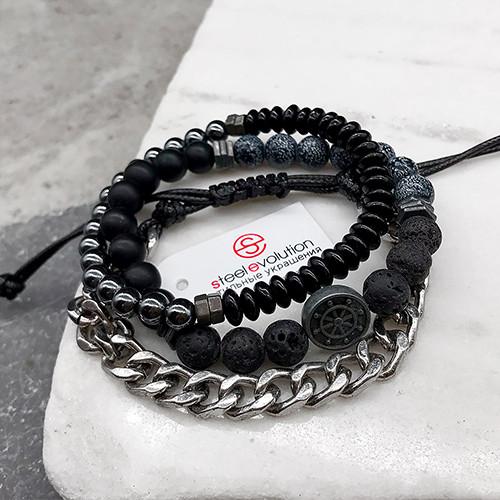 Мужской браслет из медицинской стали и натуральных камней 6 см 172369