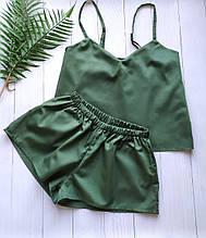 Пижама женская с майкой и шортами из сатина зеленого цвета для дома и сна S
