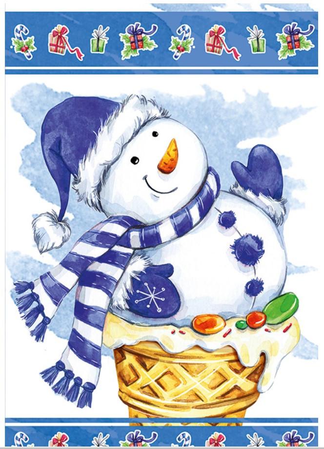 Новогодний пакет Снеговик БОЛЬШОЙ ВЕРТИКАЛЬНЫІЙ 36*22*10 см