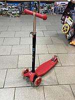 Детский самокат ITrike maxi красный, со светящимися колёсами