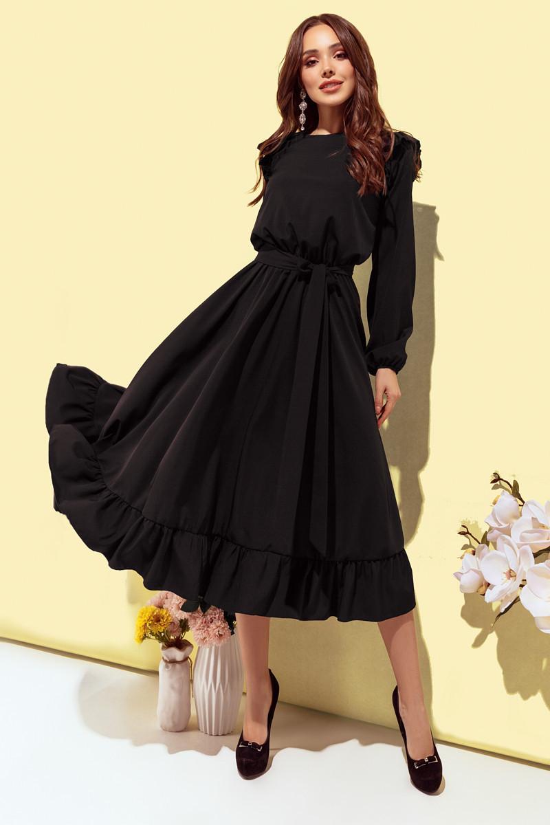 Платье женское с рюшиками Черный