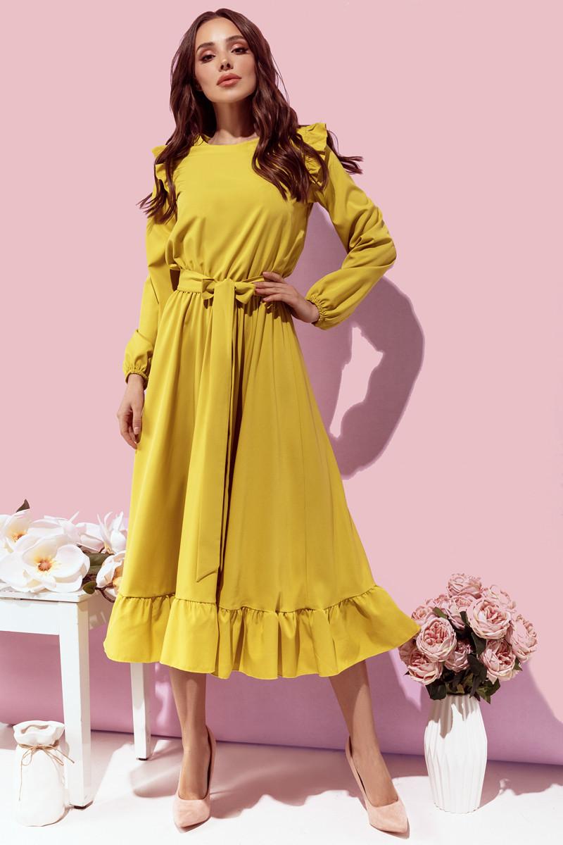 Платье женское с рюшиками Оливковый
