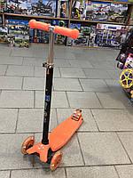 Детский самокат ITrike maxi оранжевый, со светящимися колёсами