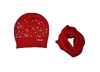 Комплект демисезонный (шапка и хомут) ТМ Nikola 19V71K красный цвет (52-54)