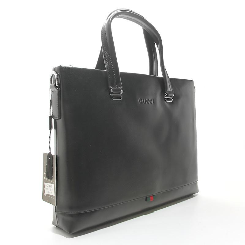 Портфель-сумка кожаная для документов, папка черная 18-1137-1