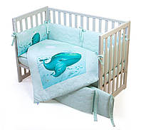 Постельный комплект для новорожденных Veres Menthol whale, фото 1
