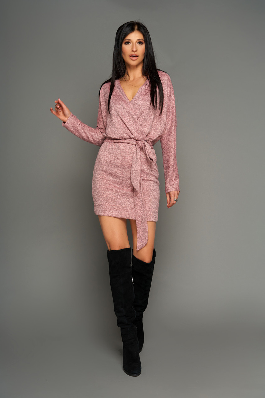 Короткий молодіжне плаття на запах, р від 42 до 50 рожеве, трикотаж ангора меланж