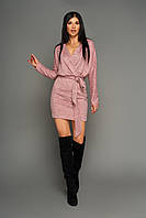 Короткое молодёжное платье на запах, р от 42 до 50 розовое, трикотаж ангора меланж