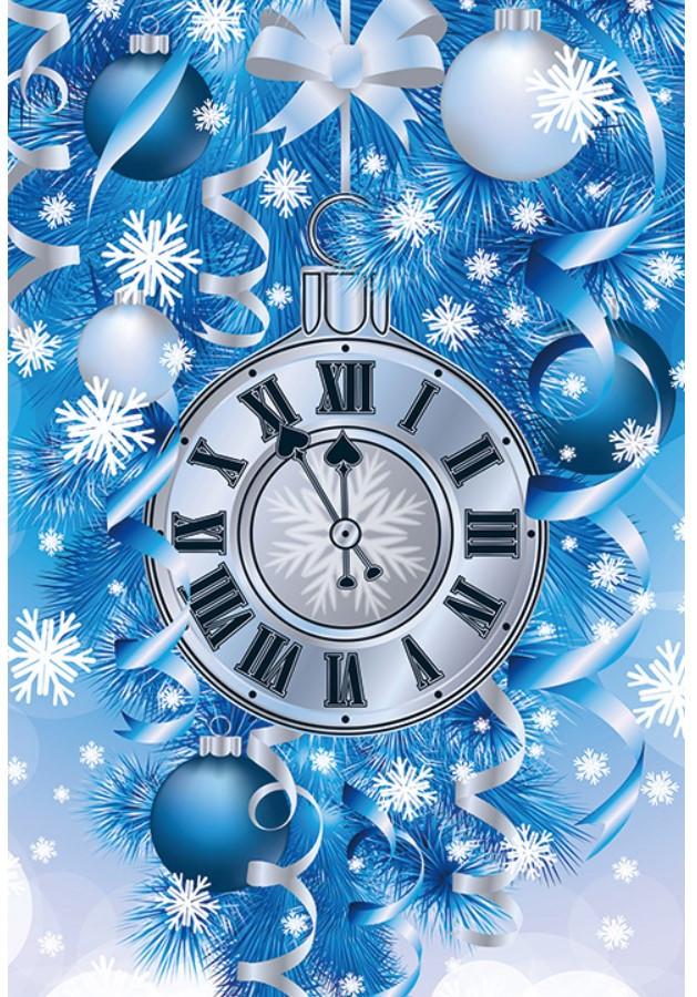 Новогодний подарочный пакет Часы СРЕДНИЙ 17*26*8 см