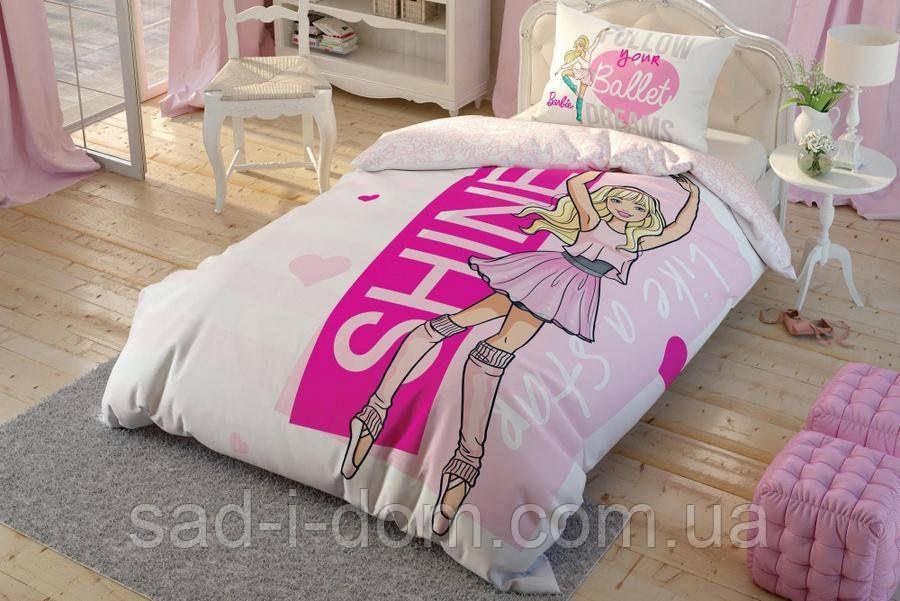 Детское полуторное постельное белье ранфорс, Barbie ballet