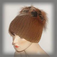 Женская меховая шапка из ондатры (песочная)