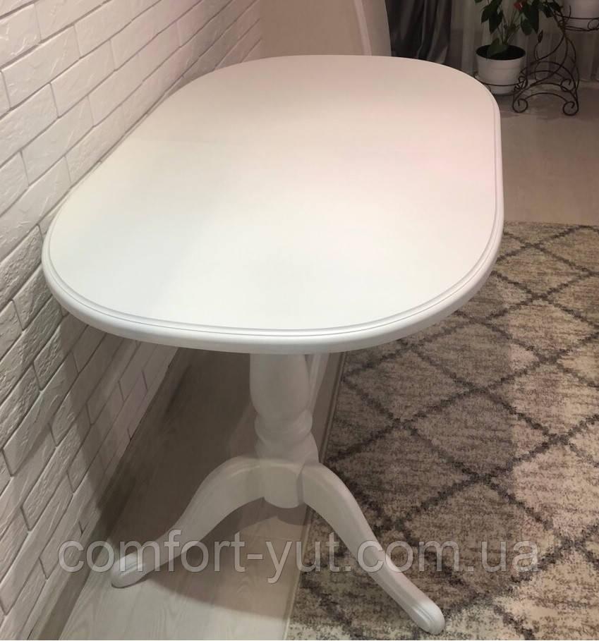 Стол Даниэль белый 120(+40)*80 обеденный раскладной деревянный овальный