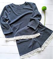Женская пижама-комплект для дома и сна с мягкого ангора с хлопковым кружевом, фото 1