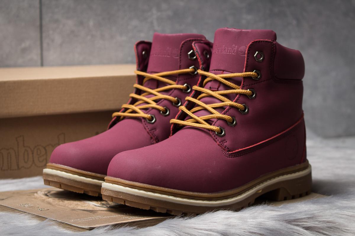 Зимние ботинки  на мехуTimberland Premium Boot, бордовые (30732) размеры в наличии ► [  40 (последняя пара)  ]