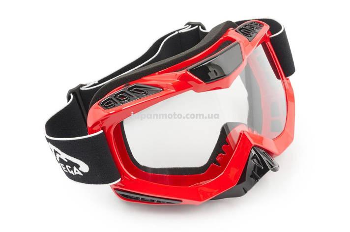Очки кроссовые (mod:MJ-1016, красные, прозрачное стекло), фото 2