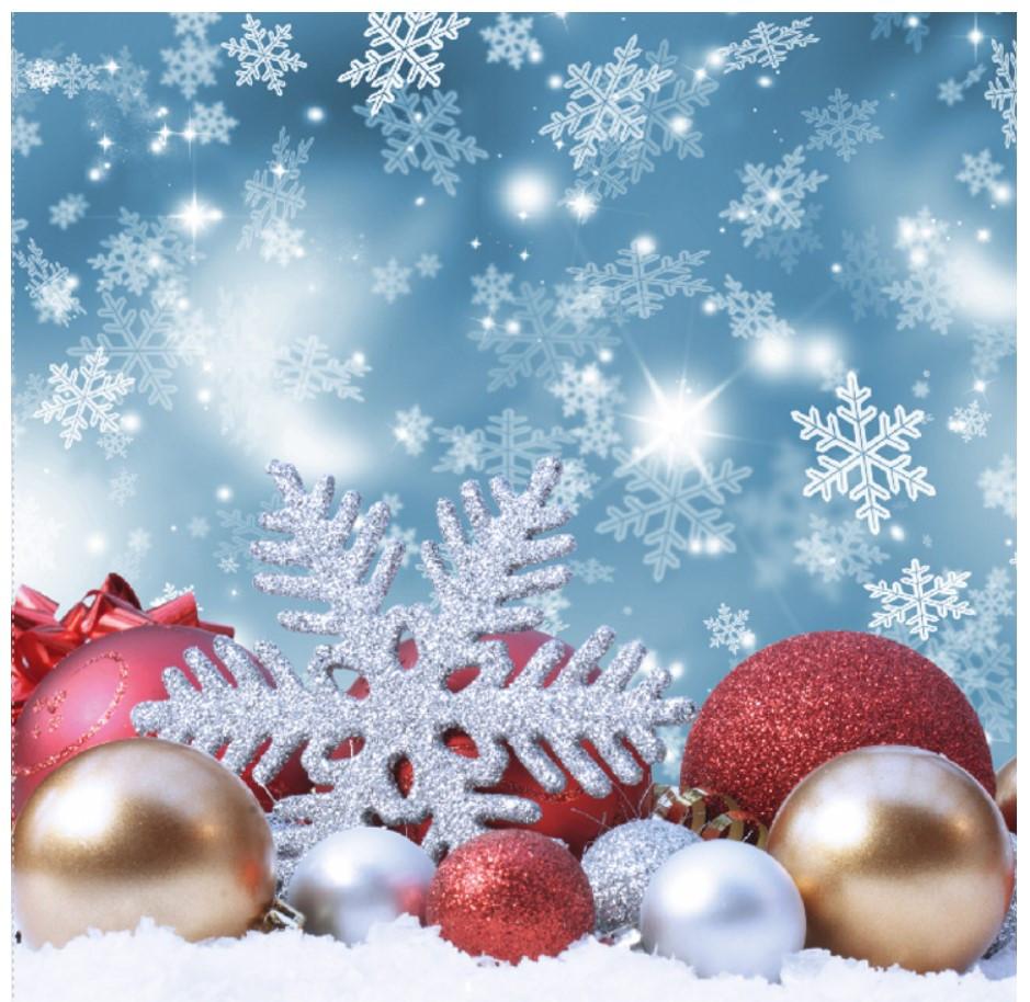 Новогодний подарочный пакет Снежинка КВАДРАТ 24*24*10 см