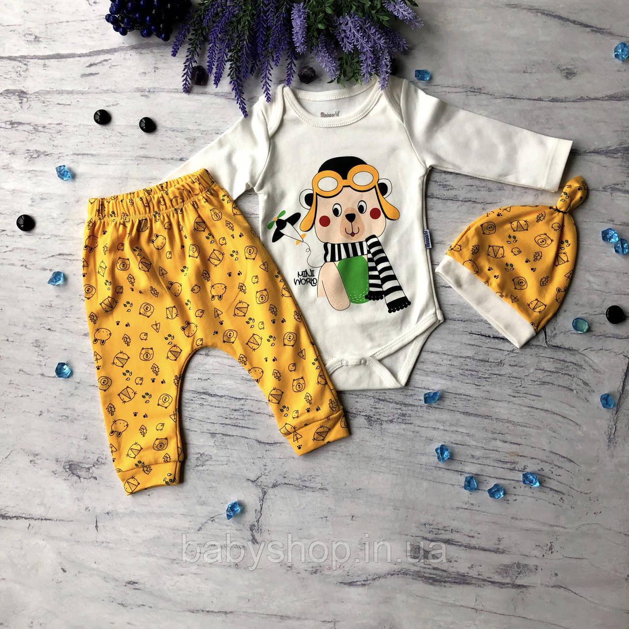 Желтый костюм, комплект на мальчика Miniworld 70. Размер 68 см. 74 см