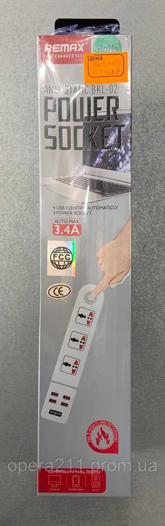 Сетевой фильтр-удлинитель RMX BKL-02 (3SOCKET/4USB) 3.4A