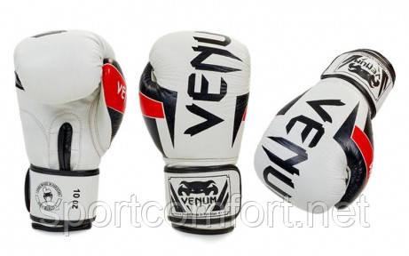 Рукавиці для боксу (натуральна шкіра) Venum neo 10 oz біло-чорні репліка