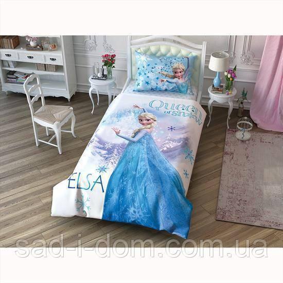 Детское полуторное постельное белье ранфорс, disney frozen elsa