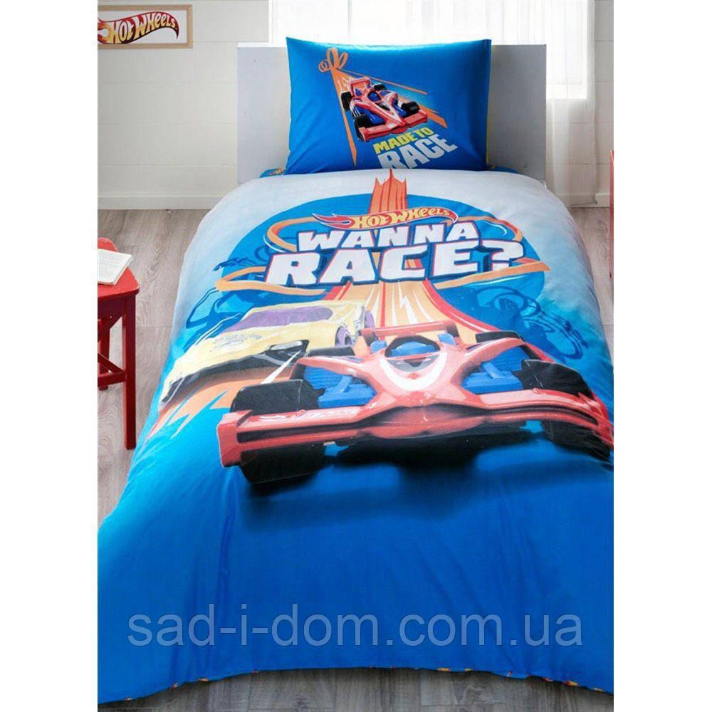 Детское полуторное постельное белье ранфорс, Hot wheels