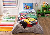 Детское полуторное постельное белье ранфорс, Mickey racer