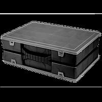 Двойной органайзер для инструментов Kronos Top 304х206х100 мм с крышкой Черный (org_024500-small)