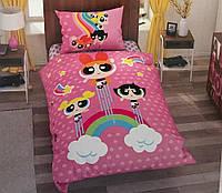 Детское полуторное постельное белье ранфорс, Power puff girls star