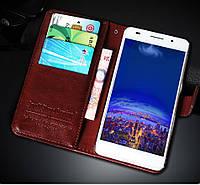 Чехол для Huawei Y6 pro tit-u02 книжка Luxury (коричневый)