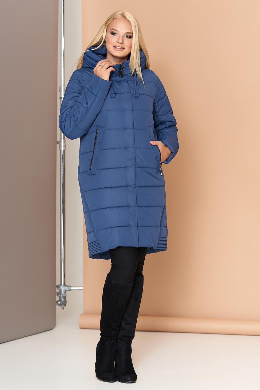 Длинная зимняя женская куртка VS 184, синяя