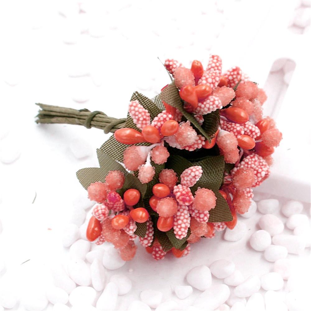 """Тычинки """"Незабудка"""" на проволоке с листиками"""" (Цена за букетик) Цвет - Персиковый"""