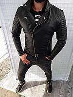Мужская стильная курточка кожзаменитель косуха прямая
