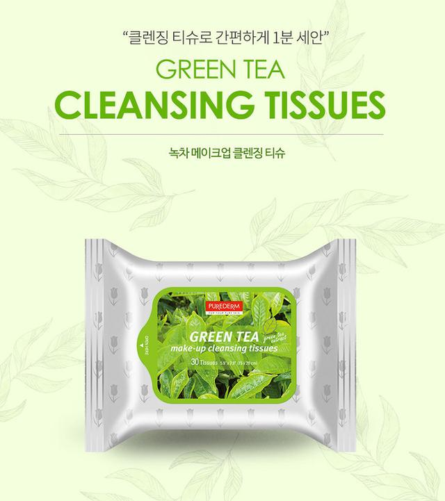 PUREDERM Make-up Cleansing Tissues Green