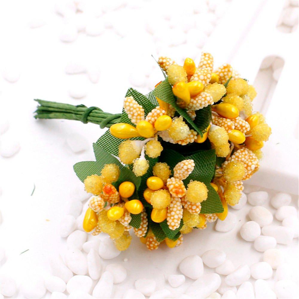 """Тычинки """"Незабудка"""" на проволоке с листиками"""" (Цена за букетик) Цвет - Жёлтый"""