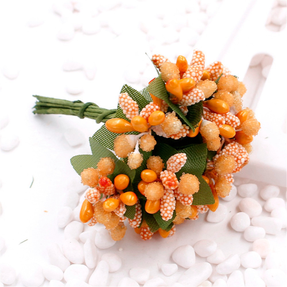 """Тычинки """"Незабудка"""" на проволоке с листиками"""" (Цена за букетик) Цвет - Оранжевый"""